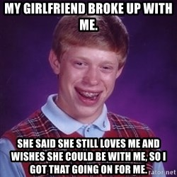 Bad Luck Brian - My girlfriend broke up with me. She said she still loves me and wishes she could be with me, so I got that going on for me.