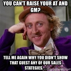 Willy Wonka - You can't raise your AT and GM? Tell me again why you didn't show that guest any of our Sales Stategies. . .