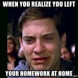 crying peter parker - when you realize you left your homework at HOME
