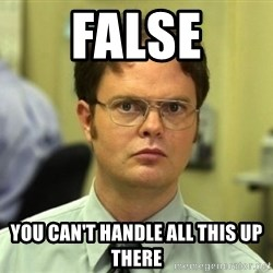 Dwight Meme - False You can't handle all this up there