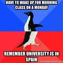 Socially Awkward to Awesome Penguin - Have to wake up for morning class on a monday Remember university is in spain