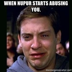 crying peter parker - When nupur starts abusing you.