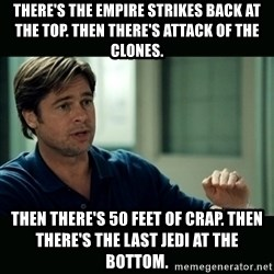 50 feet of Crap - There's The Empire Strikes Back at the top. Then there's Attack of the Clones. Then there's 50 feet of crap. Then there's The Last Jedi at the bottom.