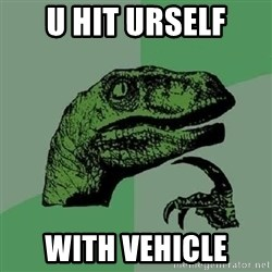 Philosoraptor - U hit urself With vehicle