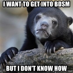 Confession Bear - I want to get into bdsm But i don't know how