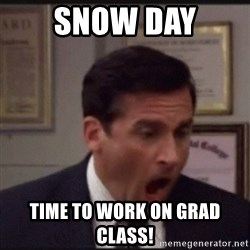 michael scott yelling NO - SNOW DAY Time to work on Grad Class!