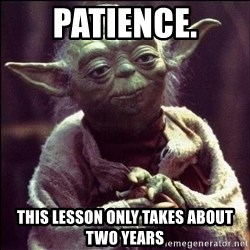 Advice Yoda - patience. this lesson only takes about two years