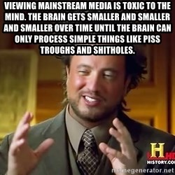 Ancient Aliens - Viewing mainstream media is toxic to the mind. The brain gets smaller and smaller and smaller over time until the brain can only process simple things like piss troughs and shitholes.