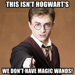 Advice Harry Potter - This isn't hogwart's WE DON'T HAVE MAGIC WANDS!