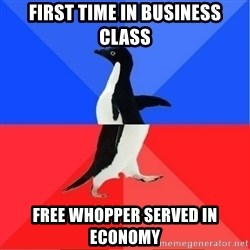 Socially Awkward to Awesome Penguin - First time in business class Free Whopper served in economy