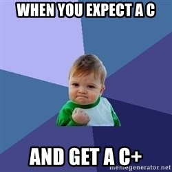 Success Kid - When you expect a c and get a c+
