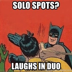 batman slap robin - solo spots? laughs in duo