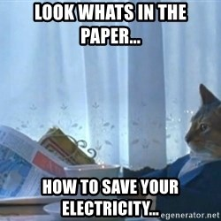 newspaper cat realization - LOOK WHATS IN THE PAPER... HOW TO SAVE YOUR ELECTRICITY...