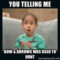 Raven Symone - you telling me bow & arrows was used to hunt