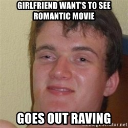 really high guy - Girlfriend want's to see romantic movie goes out raving