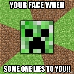 Minecraft Creeper - Your face when  Some one lies to you!!