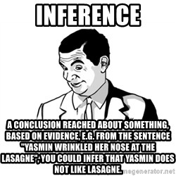 """if you know what - inference A conclusion reached about something, based on evidence, e.g. from the sentence """"Yasmin wrinkled her nose at the lasagne"""", you could infer that Yasmin does not like lasagne."""