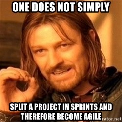 One Does Not Simply - one does not simply split a project in sprints and therefore become agile