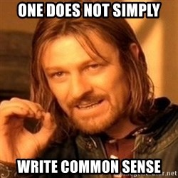 One Does Not Simply - One Does Not Simply Write Common Sense