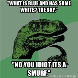 "Philosoraptor - ""what is blue and has some white? the sky."" ""no you idiot its a smurf."""