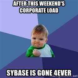 Success Kid - After this weekend's corporate load Sybase is gone 4EVER