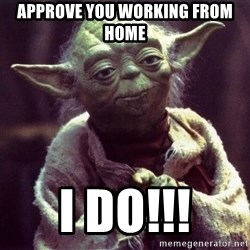 Yoda - Approve you working from home I do!!!