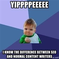 Success Kid - yippppeeeee I know the difference between SEO and normal content writers