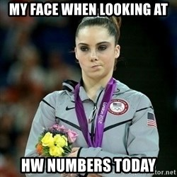 McKayla Maroney Not Impressed - MY FACE WHEN LOOKING AT  HW NUMBERS TODAY