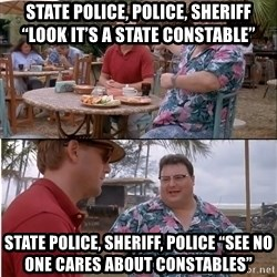 "See? Nobody Cares - State Police, Police, Sheriff ""Look it's a State Constable"" State Police, Sheriff, Police ""See no one cares about Constables"""