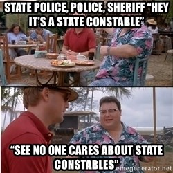 "See? Nobody Cares - State Police, Police, Sheriff ""Hey it's a State Constable"" ""See no one cares about State Constables"""