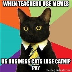 Business Cat - when teachers use memes us business cats lose catnip pay