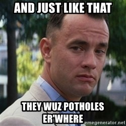 forrest gump - And just like that They wuz potholes er'where