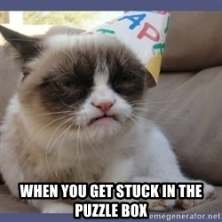 Birthday Grumpy Cat - when you get stuck in the puzzle box