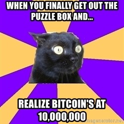 Anxiety Cat - when you finally get out the puzzle box and... realize bitcoin's at 10,000,000