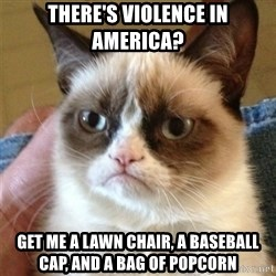 Grumpy Cat  - there's violence in america? get me a lawn chair, a baseball cap, and a bag of popcorn
