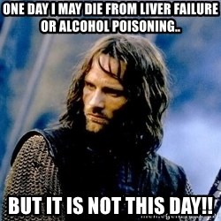 Not this day Aragorn - One day I may die from liver failure or alcohol poisoning.. But it is not this day!!