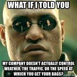 What If I Told You - What if I told you My company doesn't actually control weather, the traffic, or the speed at which you get your bags?