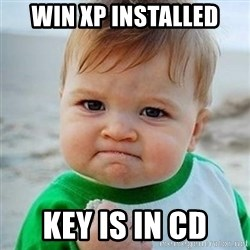 Victory Baby - win xp installed key is in cD
