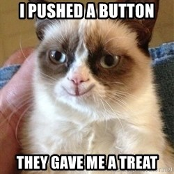 Happy Grumpy Cat 2 - i pushed a button they gave me a treat