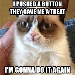 Happy Grumpy Cat 2 - I pushed a button                                they gave me a treat i'm gonna do it again