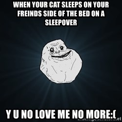 Forever Alone - when your cat sleeps on your freinds side of the bed on a sleepover y u no love me no more:(