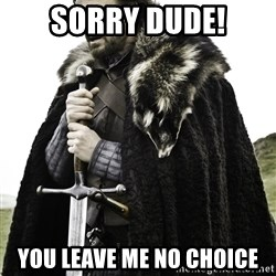 Ned Stark - Sorry dude! You leave me no choice