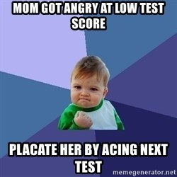 Success Kid - Mom got angry at low test score placate her by acing next test