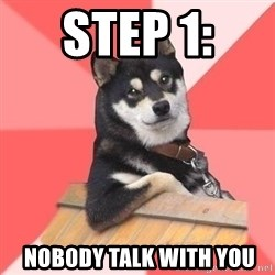 Cool Dog - Step 1:   Nobody talk with you