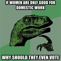Philosoraptor - If women are only good for domestic work why should they even vote