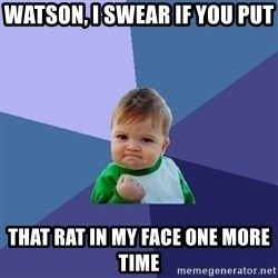 Success Kid - watson, i swear if you put that rat in my face one more time