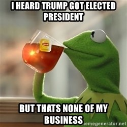 Kermit The Frog Drinking Tea - i heard trump got elected president but thats none of my business