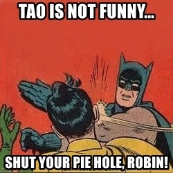batman slap robin - Tao is not funny... Shut your pie hole, Robin!