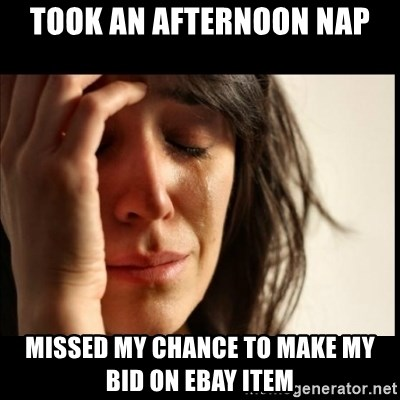 First World Problems - Took an afternoon nap Missed my chance to make my bid on ebay item