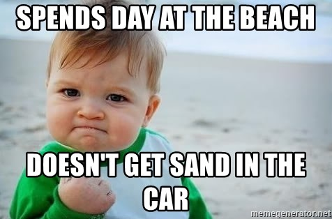 fist pump baby - SPENDS DAY AT THE BEACH DOESN'T GET SAND IN THE CAR